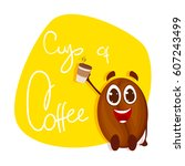 vector coffee bean on yellow... | Shutterstock .eps vector #607243499