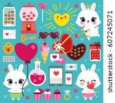 vector set of cute bunnies and...   Shutterstock .eps vector #607245071