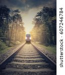 railroad in motion. concept... | Shutterstock . vector #607246784
