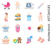 pregnancy icons set....   Shutterstock .eps vector #607264181