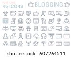 set vector simple line icons ... | Shutterstock .eps vector #607264511