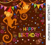 happy birthday card.... | Shutterstock .eps vector #607269617