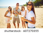 beautiful girl with glasses is...   Shutterstock . vector #607270355