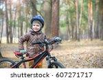 happy kid boy of 3 or 5 years... | Shutterstock . vector #607271717