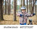 happy kid boy of 3 or 5 years... | Shutterstock . vector #607273187