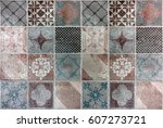 beautiful tile with a drawings | Shutterstock . vector #607273721