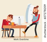 a worker looking stress with... | Shutterstock .eps vector #607278209