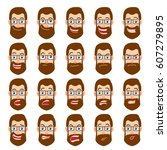 cartoon hipster businessman.... | Shutterstock . vector #607279895