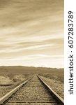 Sepia Image Of Railroad Tracks...