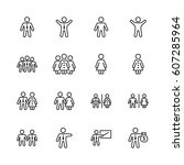 set of people vector line icons....   Shutterstock .eps vector #607285964