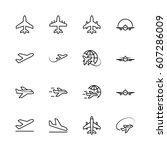 set of plane vector line icon.... | Shutterstock .eps vector #607286009