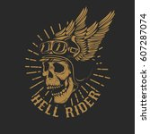 Racer Skull In Winged Helmet...