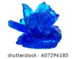 Small photo of Blue crystals of vitriol, Copper sulfate, isolated on white background