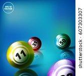 lottery balls bingo vector...   Shutterstock .eps vector #607303307