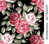 seamless pattern with roses.... | Shutterstock . vector #607304357