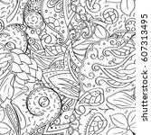 tracery seamless calming... | Shutterstock .eps vector #607313495