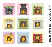 flat style fireplace icon