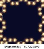 glowing fairy lights frame | Shutterstock .eps vector #607326899