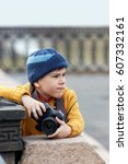 baby boy  photographer  close... | Shutterstock . vector #607332161