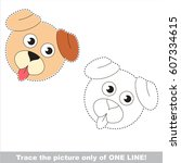 dog puppy face head. dot to dot ... | Shutterstock .eps vector #607334615
