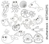 sea underwater animals set to... | Shutterstock .eps vector #607340291