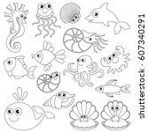 sea underwater animals set to... | Shutterstock .eps vector #607340291