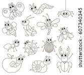 cute small insects set to be... | Shutterstock .eps vector #607340345
