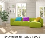 white room with sofa and green... | Shutterstock . vector #607341971