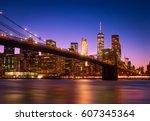 view of brooklyn bridge and...   Shutterstock . vector #607345364