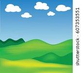 beautiful landscape mountain... | Shutterstock .eps vector #607353551
