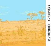 vector color sketch landscape... | Shutterstock .eps vector #607354691