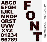 alphabet broken  cracked font... | Shutterstock .eps vector #607364819