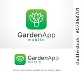 garden app logo template vector ... | Shutterstock .eps vector #607368701