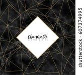minimalistic trendy marble... | Shutterstock .eps vector #607374995