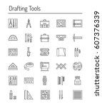 drafting tools icon collection. ...   Shutterstock .eps vector #607376339