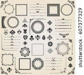 vintage set of vector... | Shutterstock .eps vector #607377329
