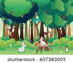 cartoon summer forest landscape ... | Shutterstock .eps vector #607383005