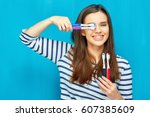 smiling girl with dental braces ... | Shutterstock . vector #607385609