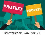 hand holding protest sign flat... | Shutterstock .eps vector #607390121