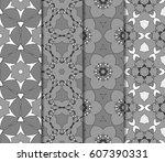 set of geometric pattern in... | Shutterstock .eps vector #607390331