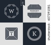 logos design templates set.... | Shutterstock .eps vector #607391081