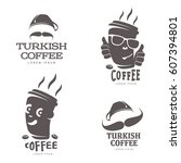 cartoon cup and turkish coffee... | Shutterstock .eps vector #607394801