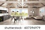 minimalist mezzanine loft ... | Shutterstock . vector #607396979