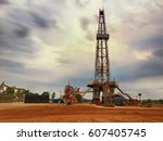 oil and gas drilling rig... | Shutterstock . vector #607405745
