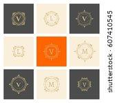 the letters m v  l. flourishes... | Shutterstock .eps vector #607410545