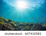 rays of sunlight shining into... | Shutterstock . vector #607410581