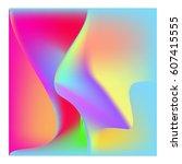 3d wavy background. dynamic... | Shutterstock .eps vector #607415555
