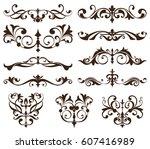vector set vintage ornaments ...   Shutterstock .eps vector #607416989