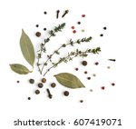 group of dry spices with thyme...   Shutterstock . vector #607419071