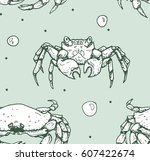 seamless pattern with crabs on...   Shutterstock .eps vector #607422674